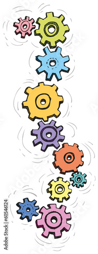 Vector cartoon colorful spinning gears