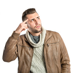 Man making a crazy gesture over white background