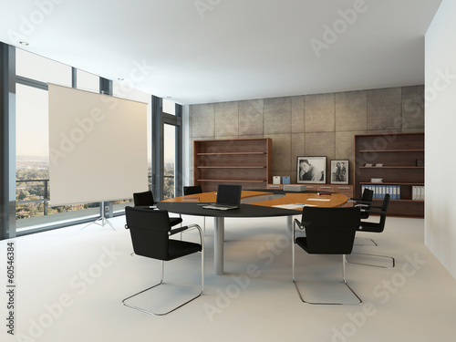 Contemporary meeting room with conference table