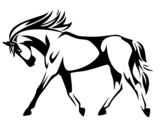trotting horse black and white vector outline