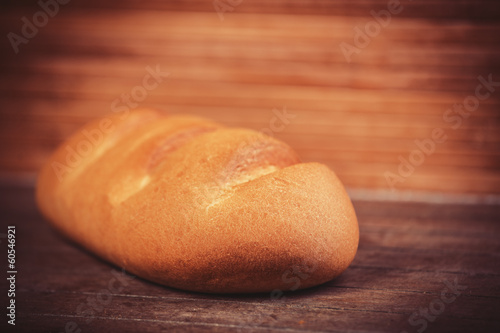 Delicious bread on a wood table