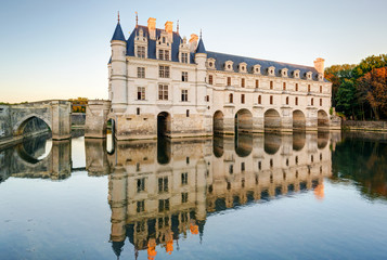 The Chateau de Chenonceau at sunset, France