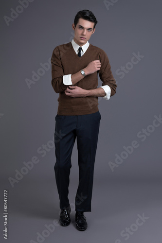 Retro 1950s fashion man with dark grease hair. Wearing brown swe