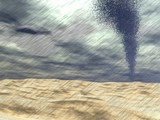 Tornado at the beach - 3D render