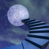 Stairs to the moon - 3D render