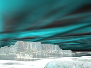 Northern lights (aurora borealis)  - 3D render