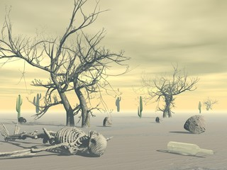 Skeleton in the desert - 3D render