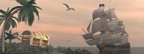 Leinwanddruck Bild Pirate ship finding treasure - 3D render