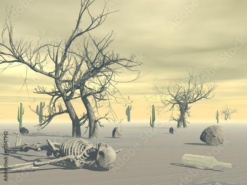 Naklejka Skeleton in the desert - 3D render