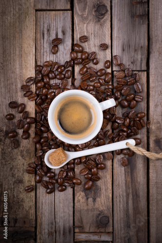 Espresso on wooden ground