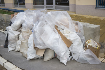 Bags of renovation waste