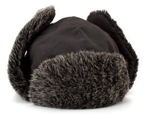Fur cap for winter isolated on white background