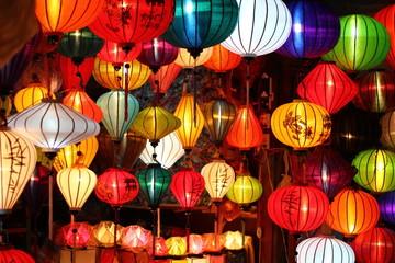 Colored vietnamese silk lanterns