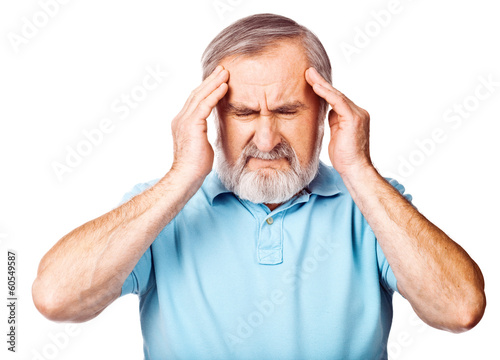 Senior man having headache