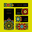 Business cards design with colorful ornament