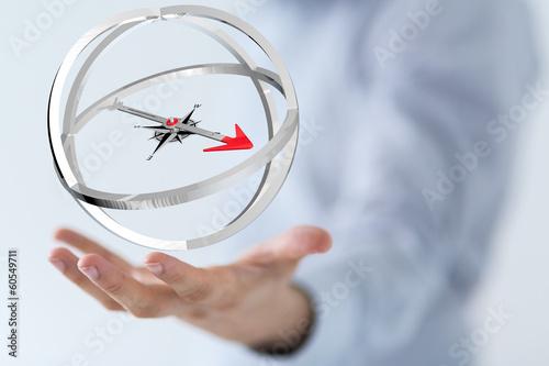 Leinwandbild Motiv compass hand