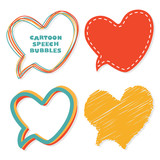 Heart speech bubbles. Vector illustration.
