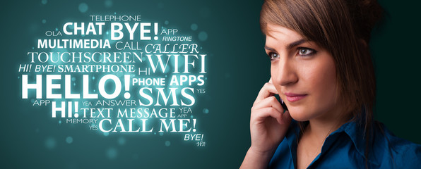 Young girl calling by phone with word cloud