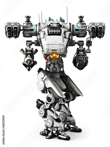 White Mech weapon on a white background