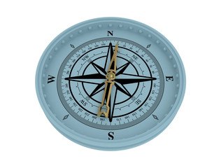 Compass on  secluded white background. North. Compass needle.