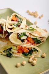 Tortilla wrap with hummus
