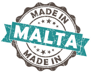 made in MALTA blue grunge isolated seal
