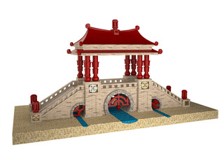 Chinese bridge on a white background
