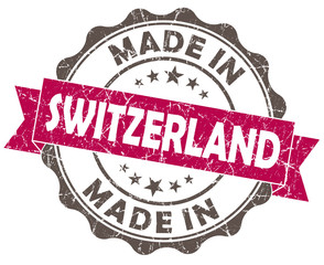made in SWITZERLAND pink grunge seal