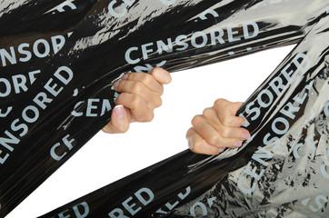 Women hand doing gap in censoring