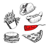 Fast food. Set of  hand drawn illustration