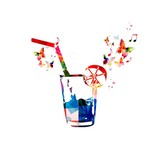 Colorful vector cocktail background with butterflies