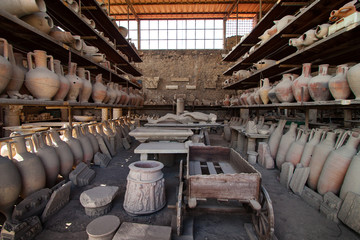 Pots in storage, Pompeii, Nr. Naples, Campania, Italy, Europe