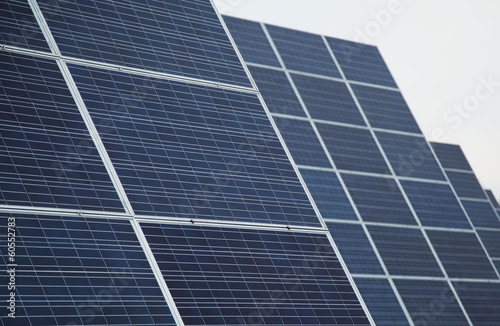 Detail of blue solar panels