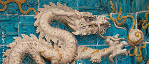 The Nine-Dragon Wall (Jiulongbi) at Beihai park, Beijing, China