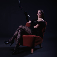 Retro woman on chair