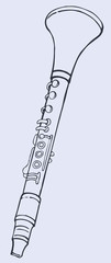 Vector line drawing clarinet