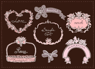 Wedding hand drawn graphic set, retro style.