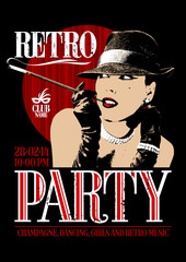 Retro party poster with old-fashioned smoking woman in a hat
