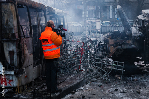 KIEV, UKRAINE - January 20, 2014: The morning after the violent