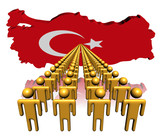 Lines of people with Turkey map flag illustration