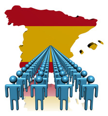 Lines of people with Spain map flag illustration