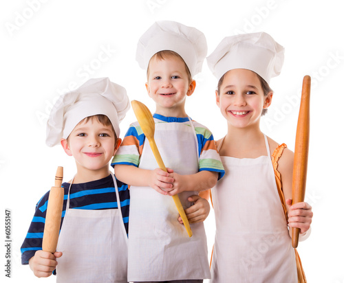 Three young chefs with ladle and rolling pin - 60555147