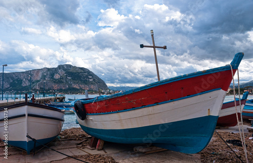Old boat at Mondello beach in Palermo