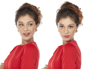 Portrait of beautiful twins young woman