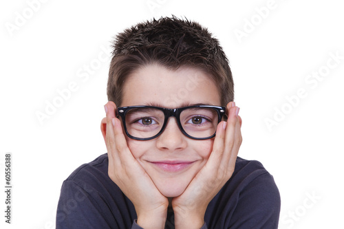 caucasian toddler in foreground with glasses