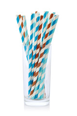 Striped drink straws of different colors