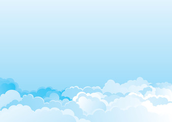 Vector color horizontal background of cloudy sky
