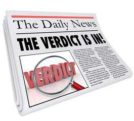 Verdict Is In Newspaper Headline Answer Judgment Announced