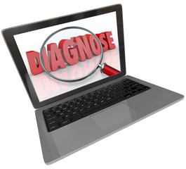 Diagnose Word Computer Laptop Screen Finding Medical Help Online