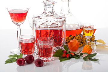 Set of traditional liqueurs